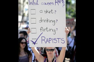 Signs condemning victim blaming